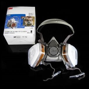 3M™ 6200 Meia-Máscara Reutilizável com retentores, filtros de gás e filtros de partículas