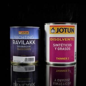 Ravilakk, Barniz brillante basado en aceite de madera de China y ámbar sintético.