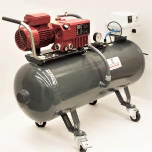 Equipo de vacío de 21 m3/h, tanque de 100 litros, ruedas y cuenta horas